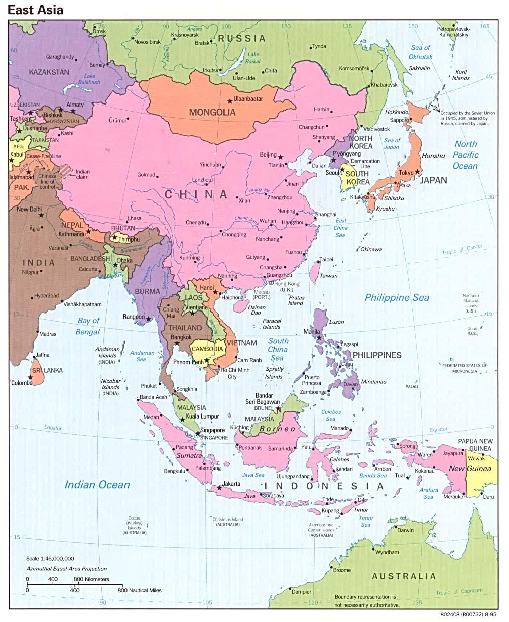 Mapa Politico de Asia del Este 1995