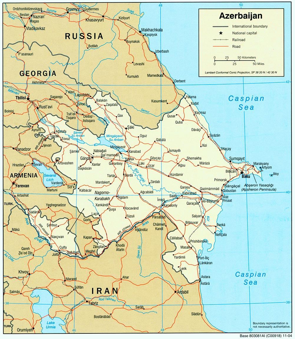Mapa Politico de Azerbaiyán