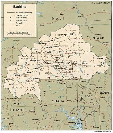 Mapa Politico de Burkina Faso
