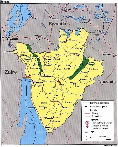 Mapa Politico de Burundi
