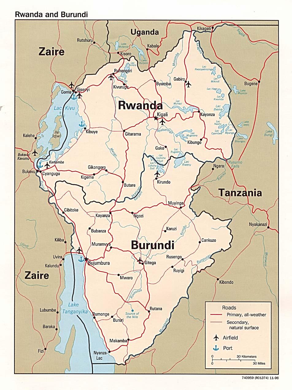 Mapa Politico de Burundi y Ruanda