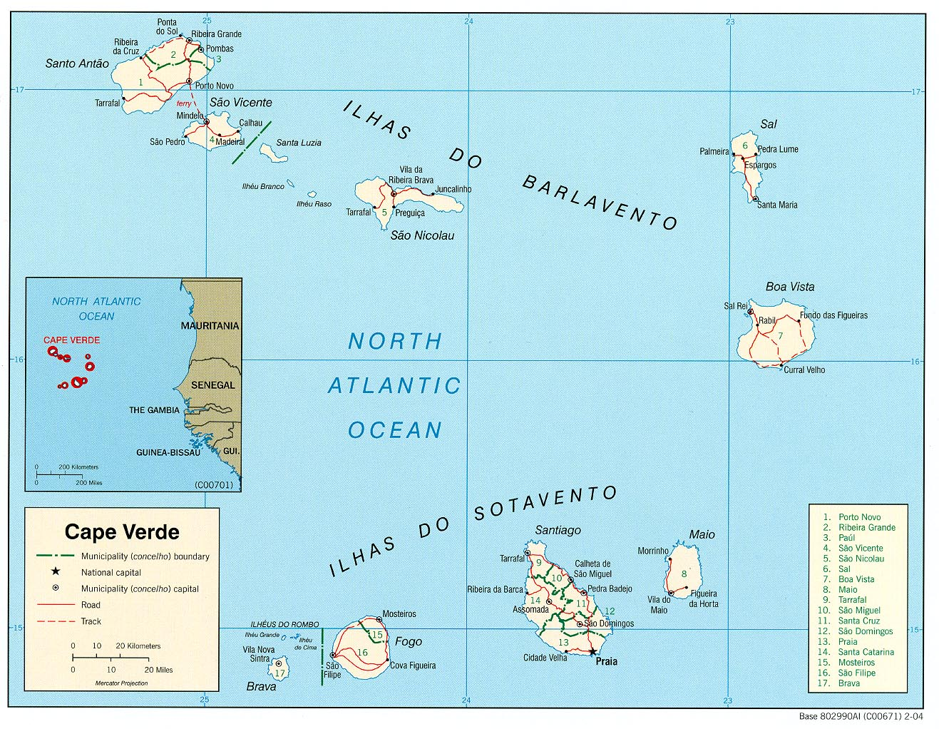 Mapa Politico de Cabo Verde
