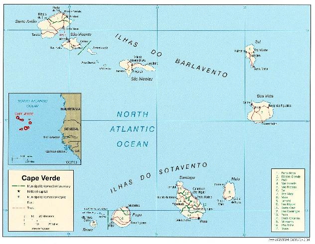 Cape Verde Political Map