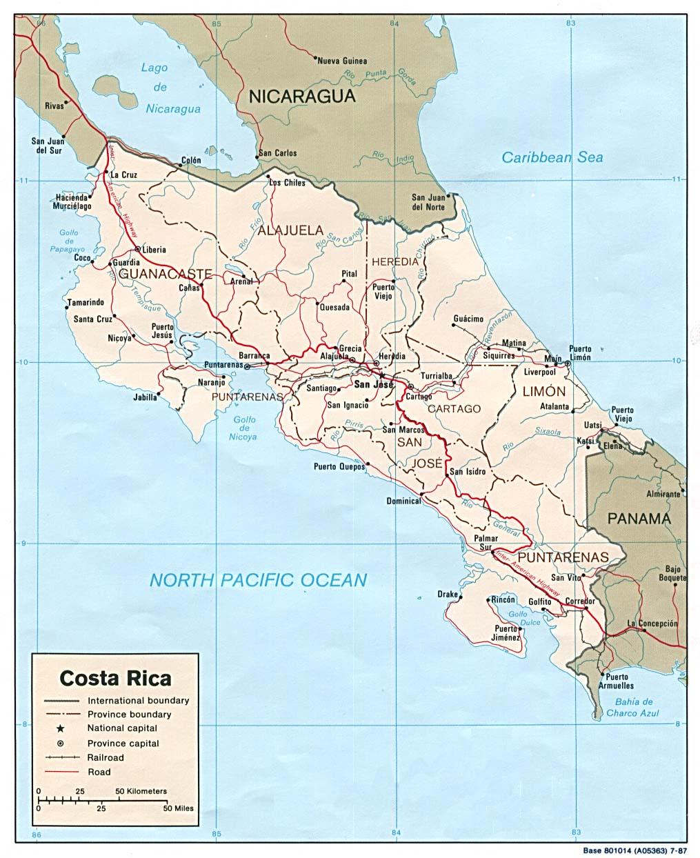 Mapa Político de Costa Rica