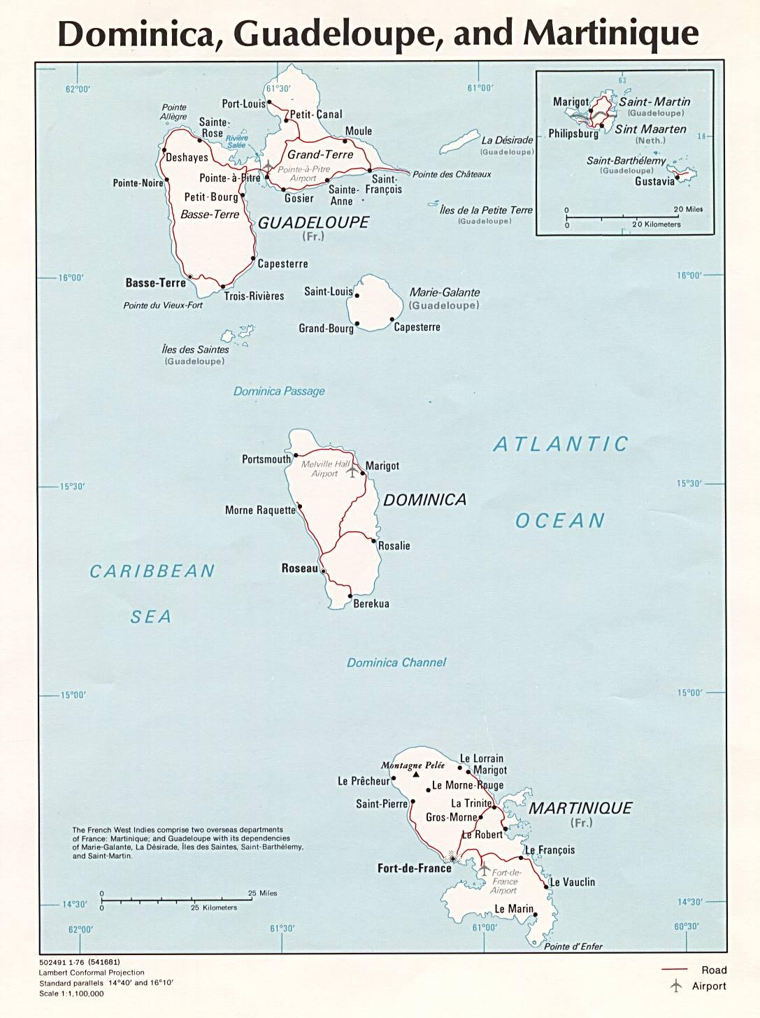 Mapa Político de Dominica, Guadalupe, y Martinica