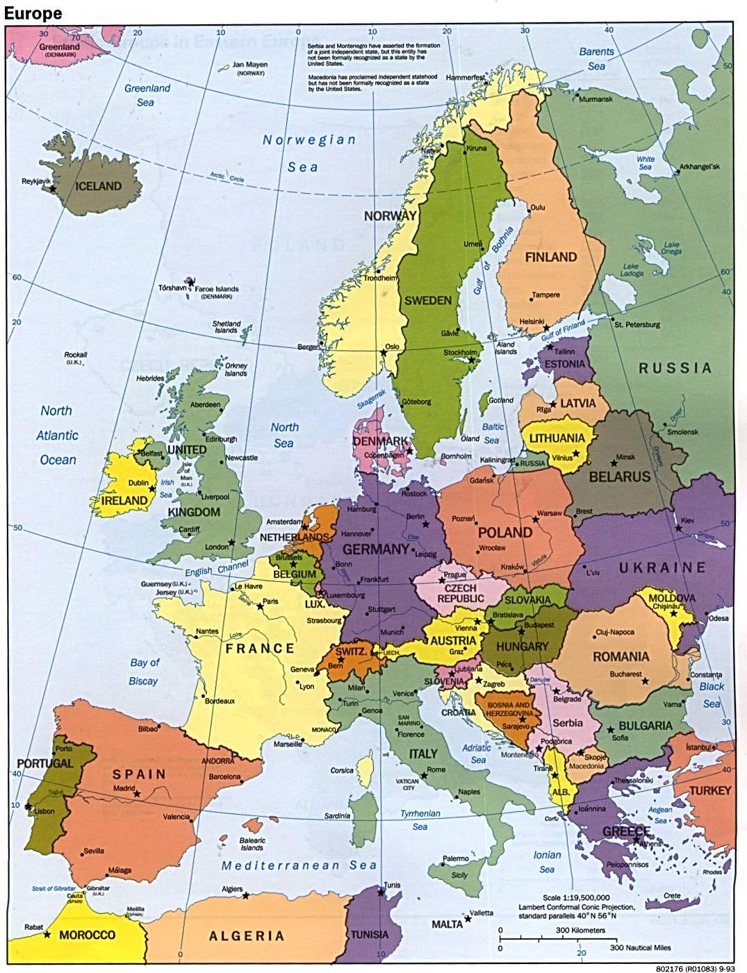 Mapa Politico de Europa 1993