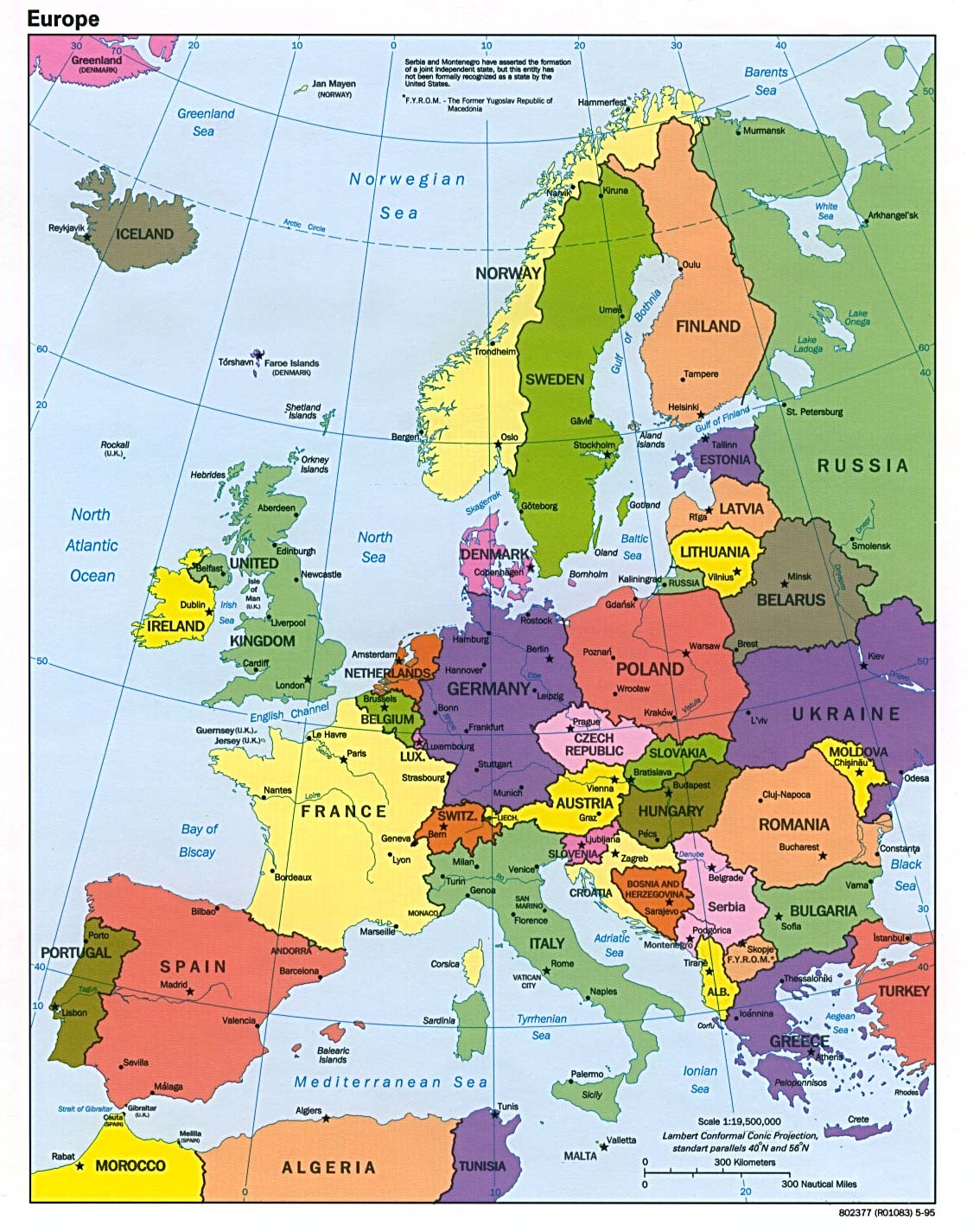 Europe political map 1995
