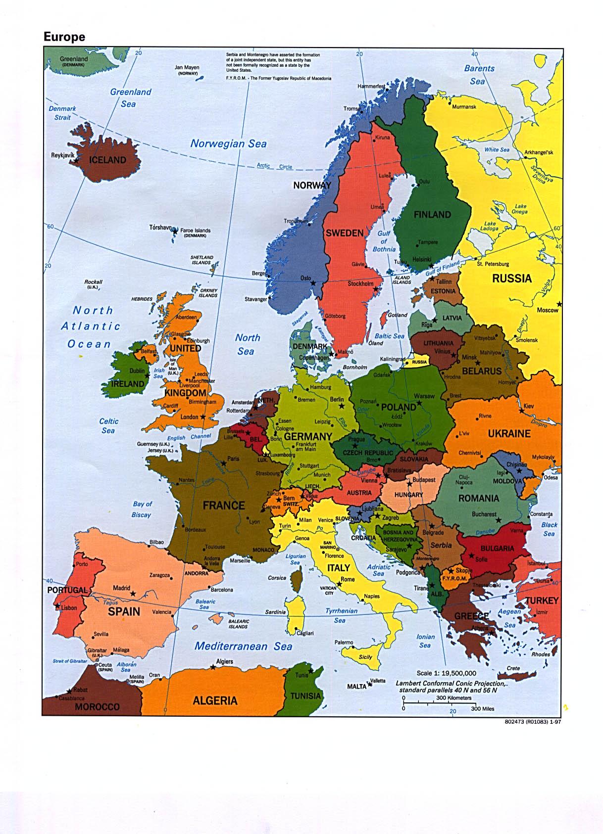 Mapa Politico de Europa 1997