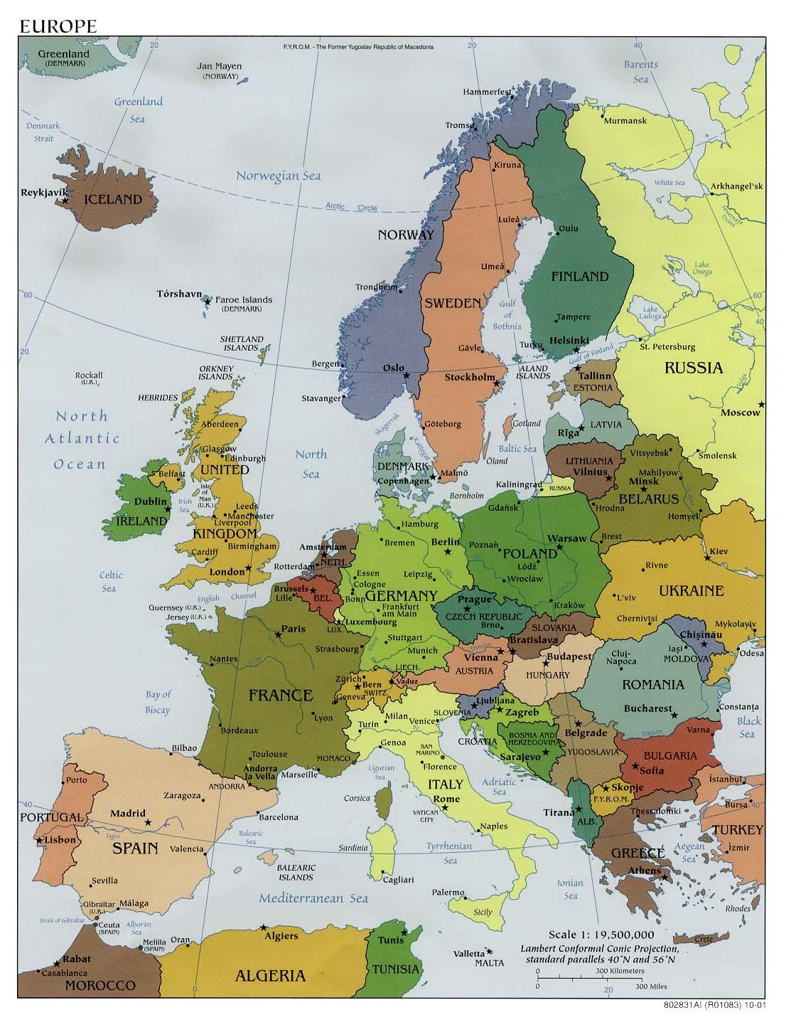 Mapa Politico de Europa 2001