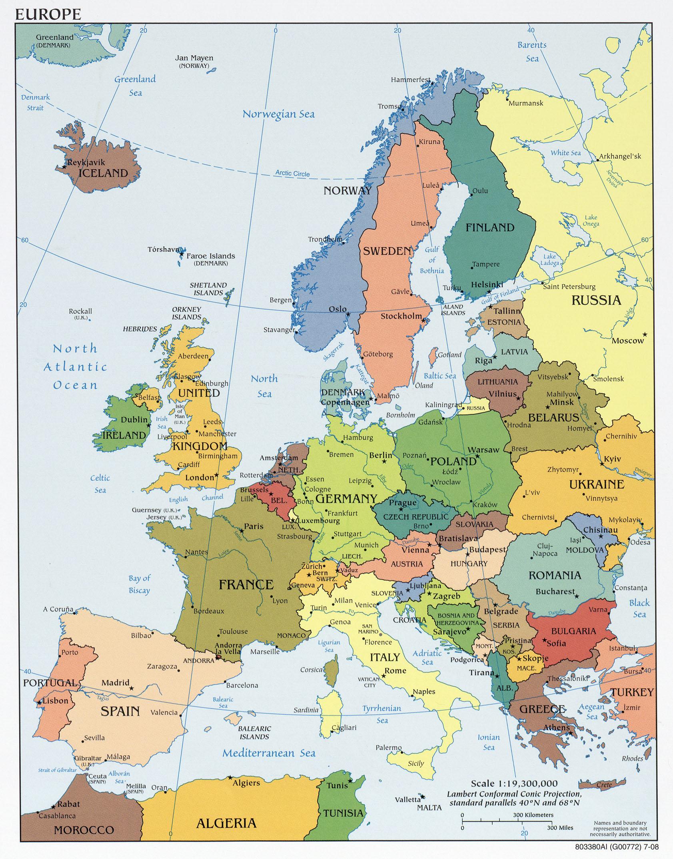 Mapa Politico de Europa 2008