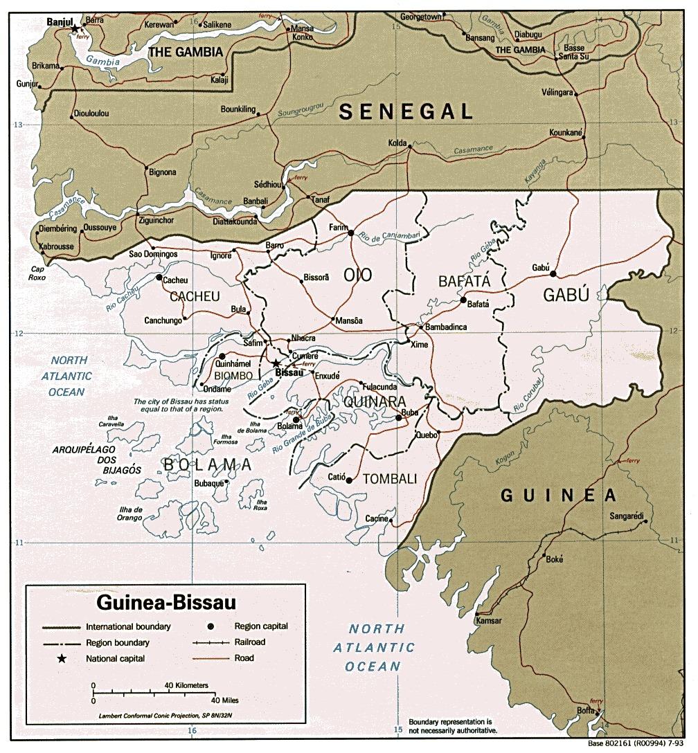 Mapa Politico de Guinea-Bissau