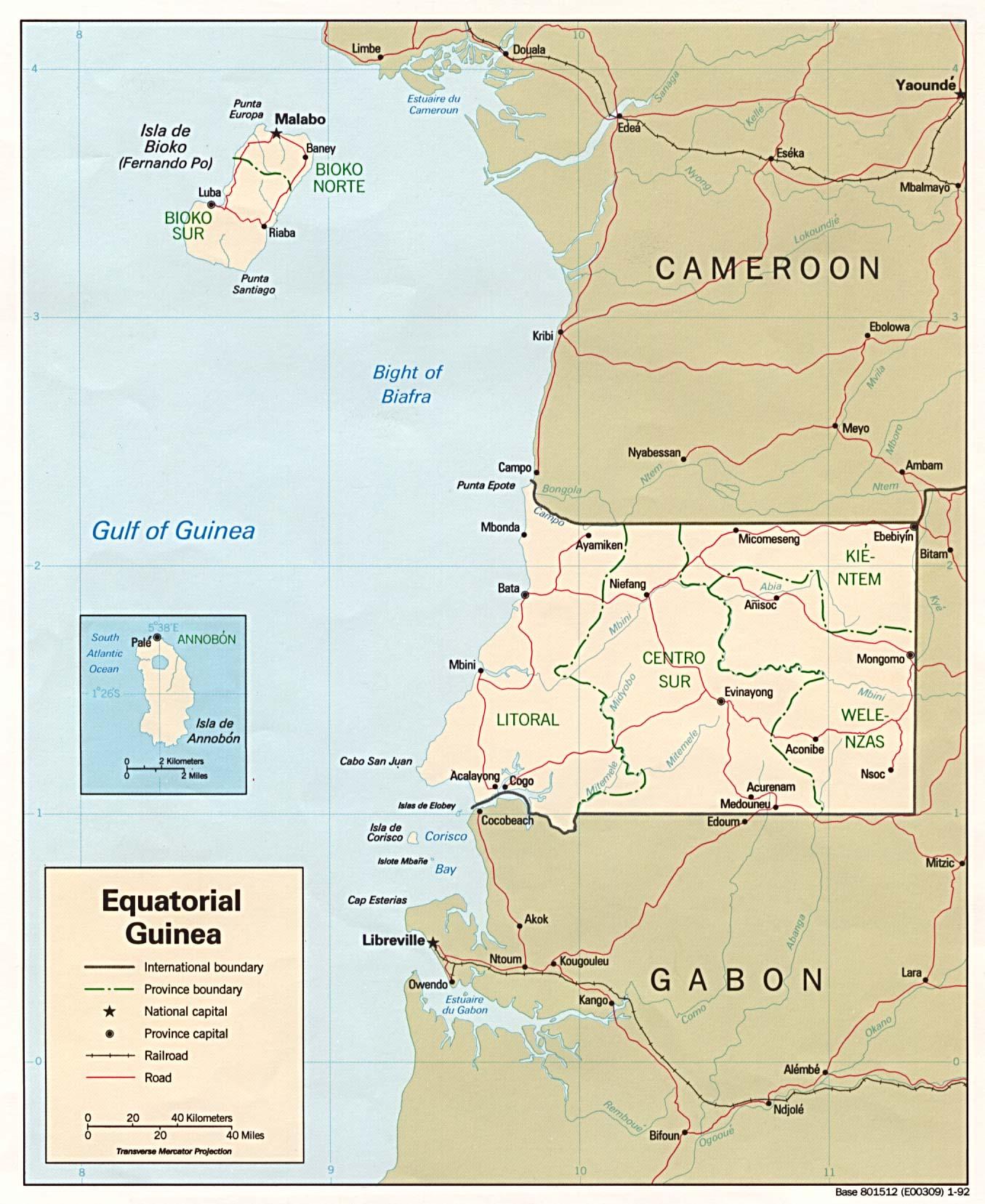 Mapa Politico de Guinea Ecuatorial