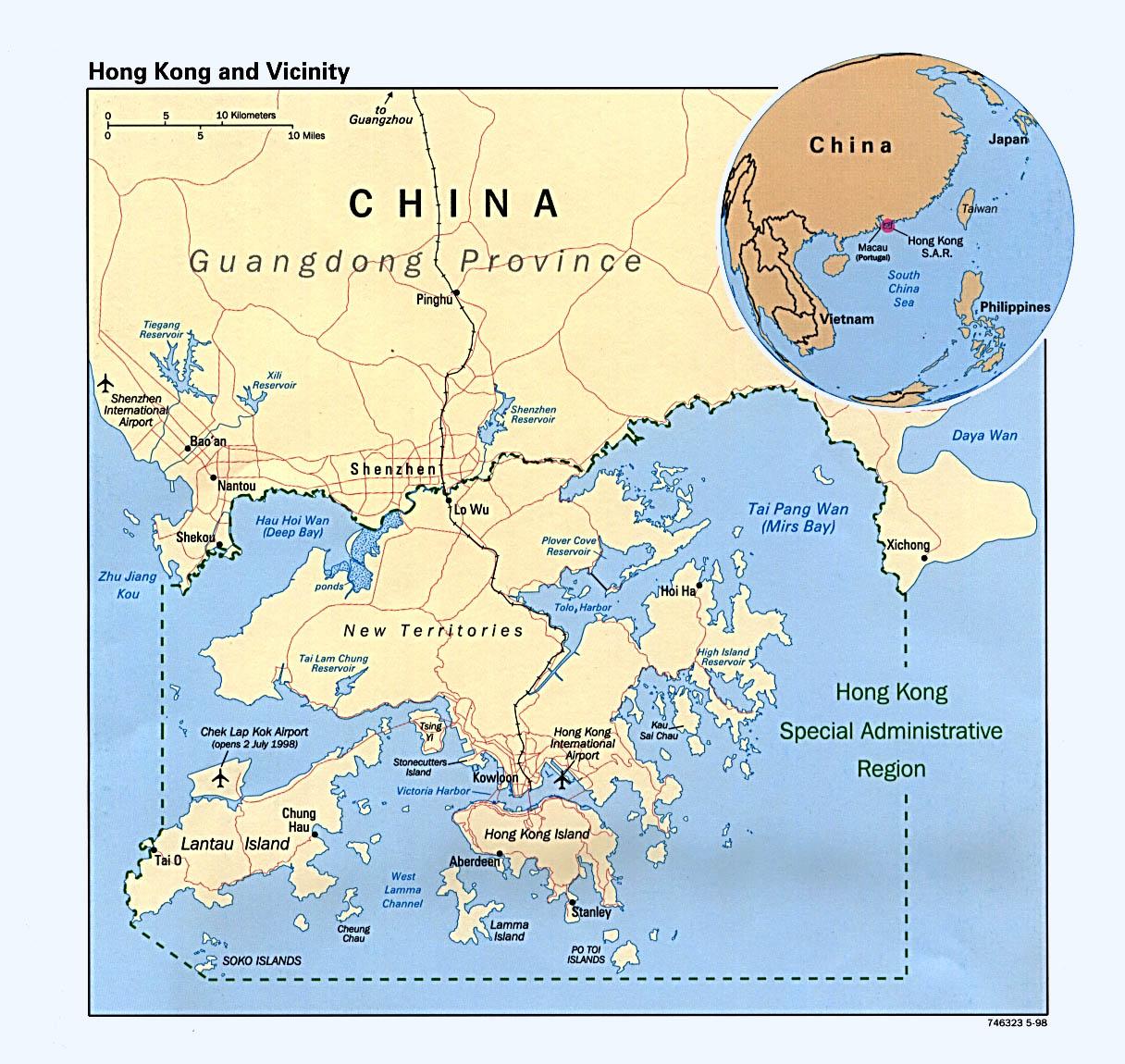Mapa Politico de Hong Kong y Cercanías