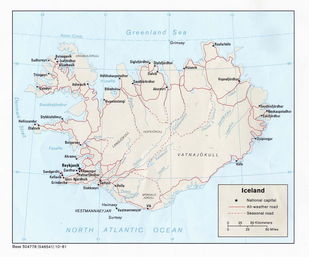 Mapa Politico de Islandia