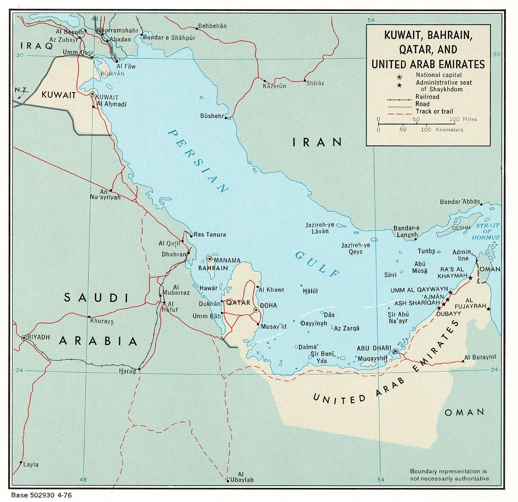 Kuwait, Bahrain, Qatar and United Arab Emirates Political Map