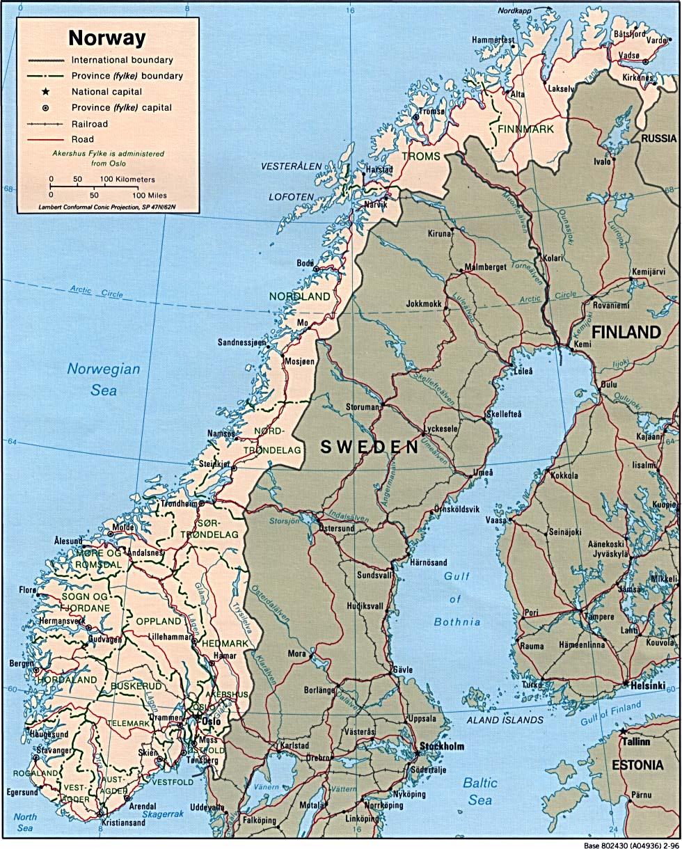 Mapa Politico de Noruega