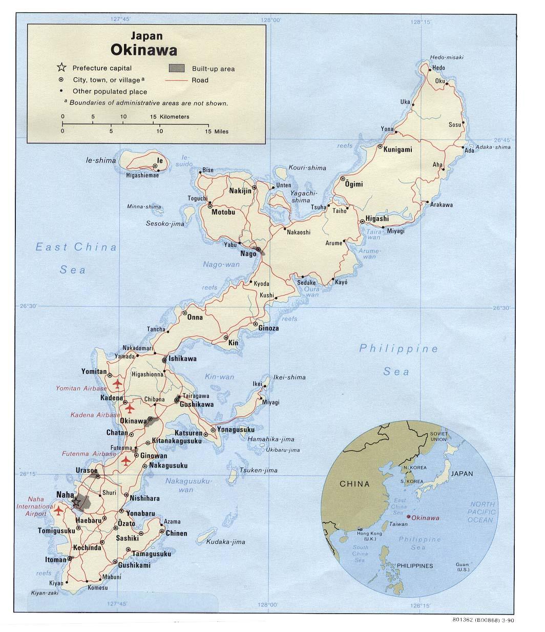 Mapa Politico de Okinawa, Japón