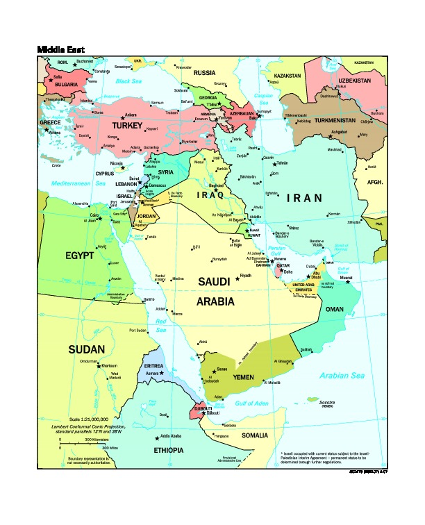 Mapa Politico de Oriente Medio