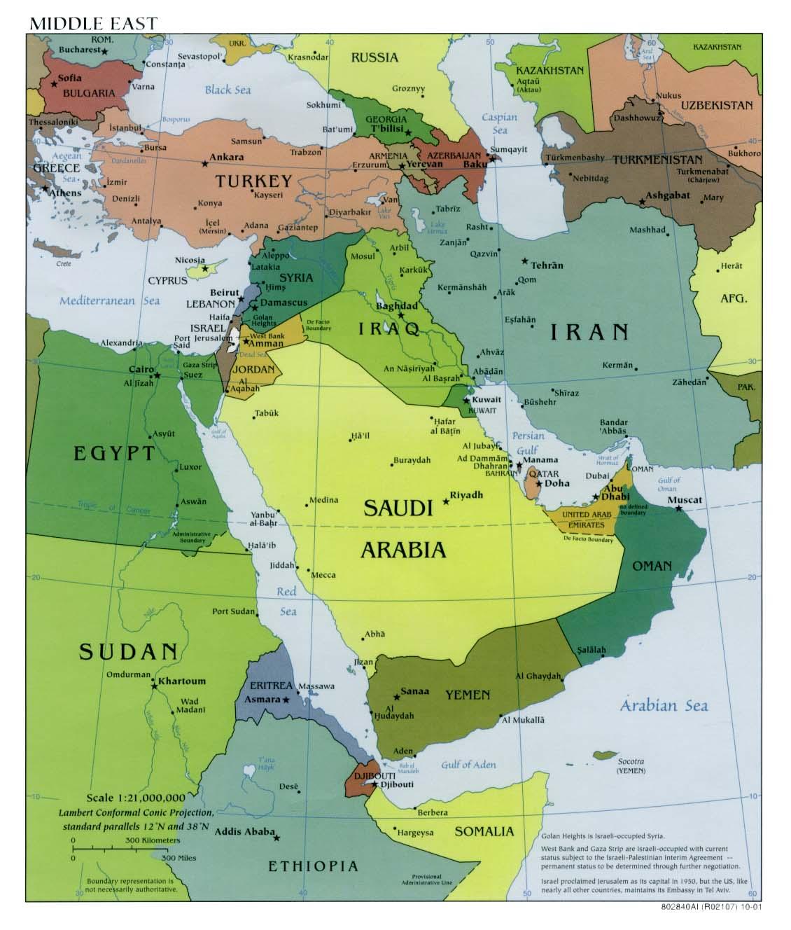 Mapa Politico de Oriente Medio 2001