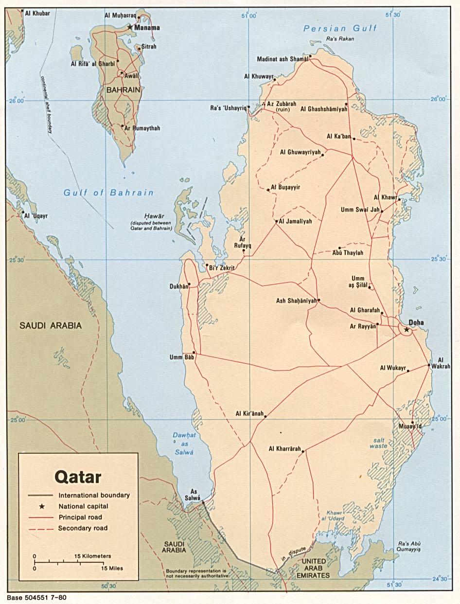 Mapa Politico de Qatar