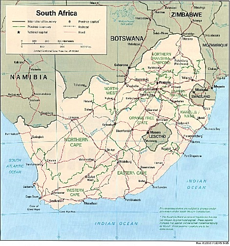 Mapa Politico de Sudáfrica