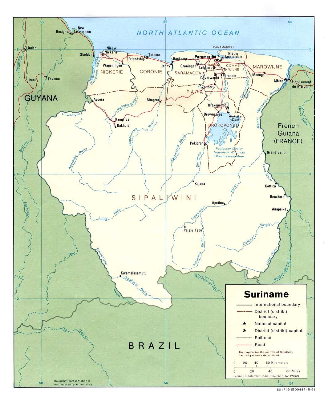 Mapa Político de Surinam