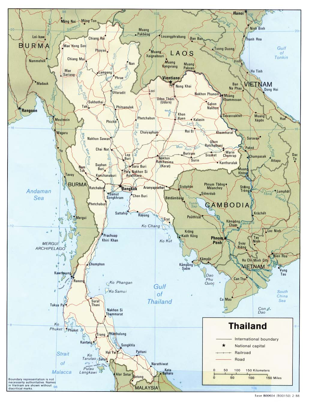 Mapa Politico de Tailandia