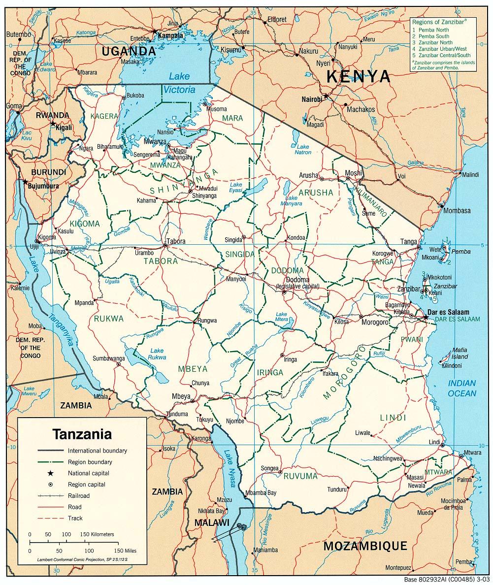 Tanzania Political Map
