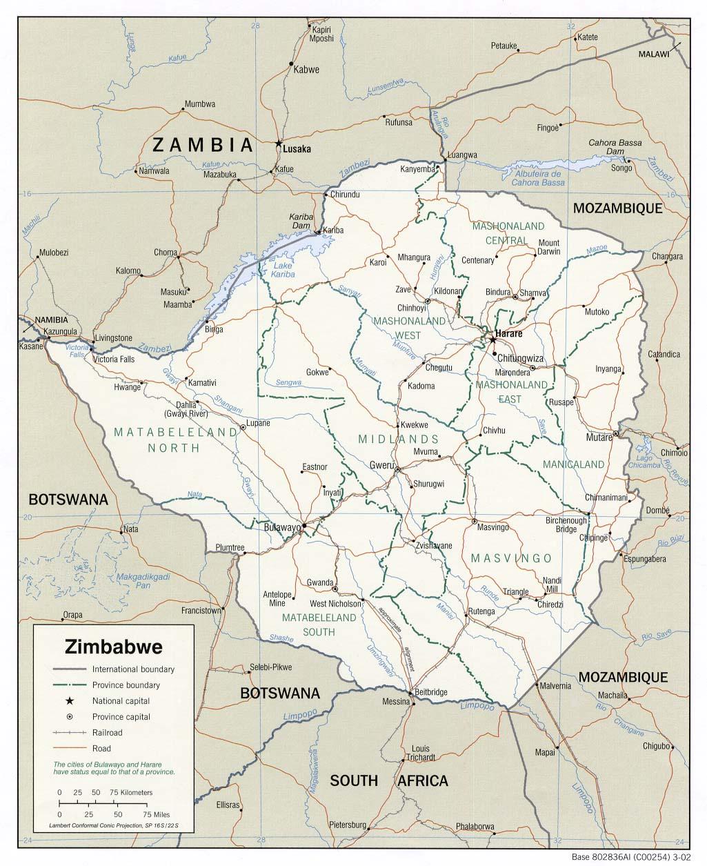 Mapa Politico de Zimbabue