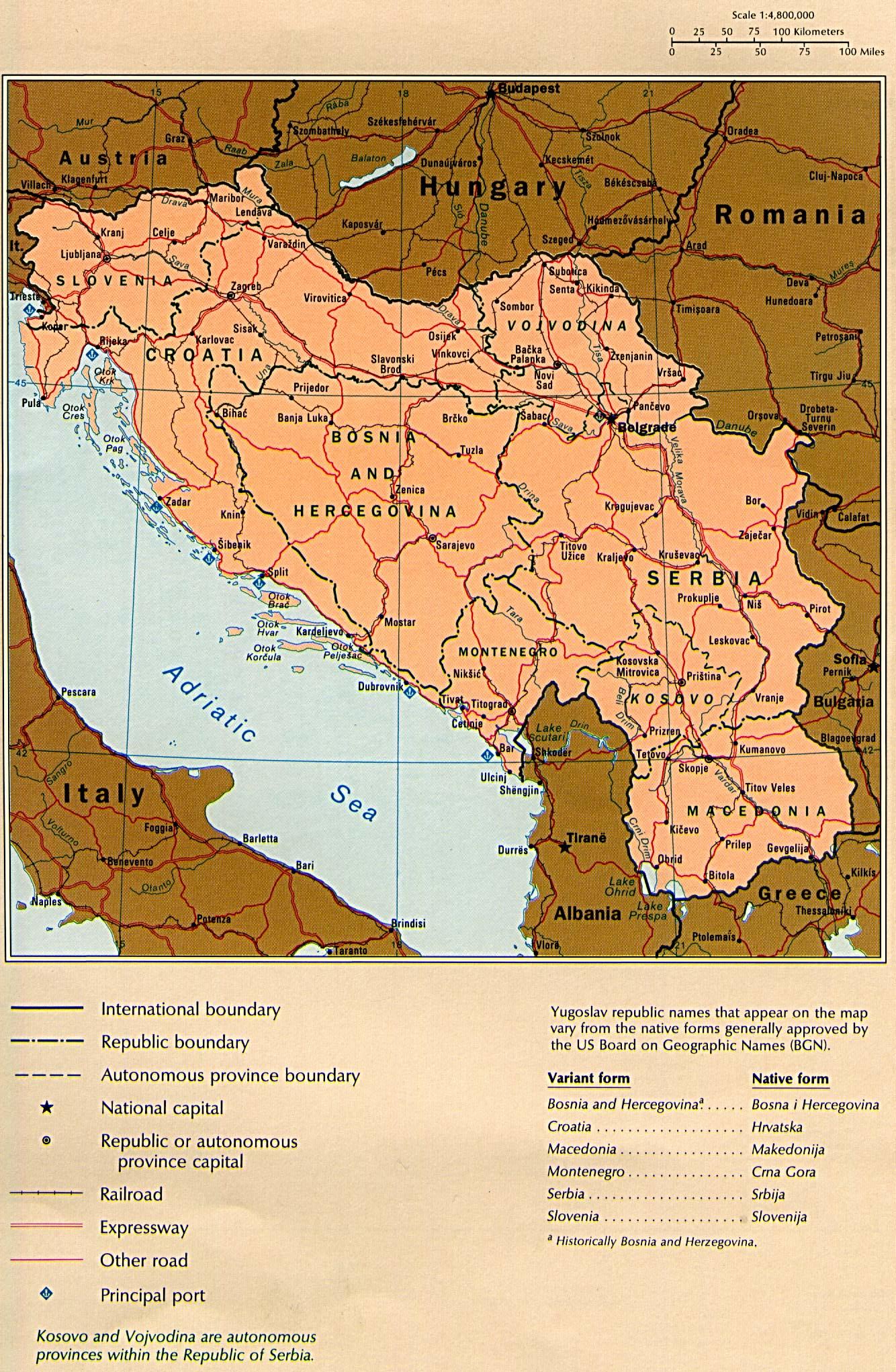 Mapa Politico de la Ex Yugoslavia