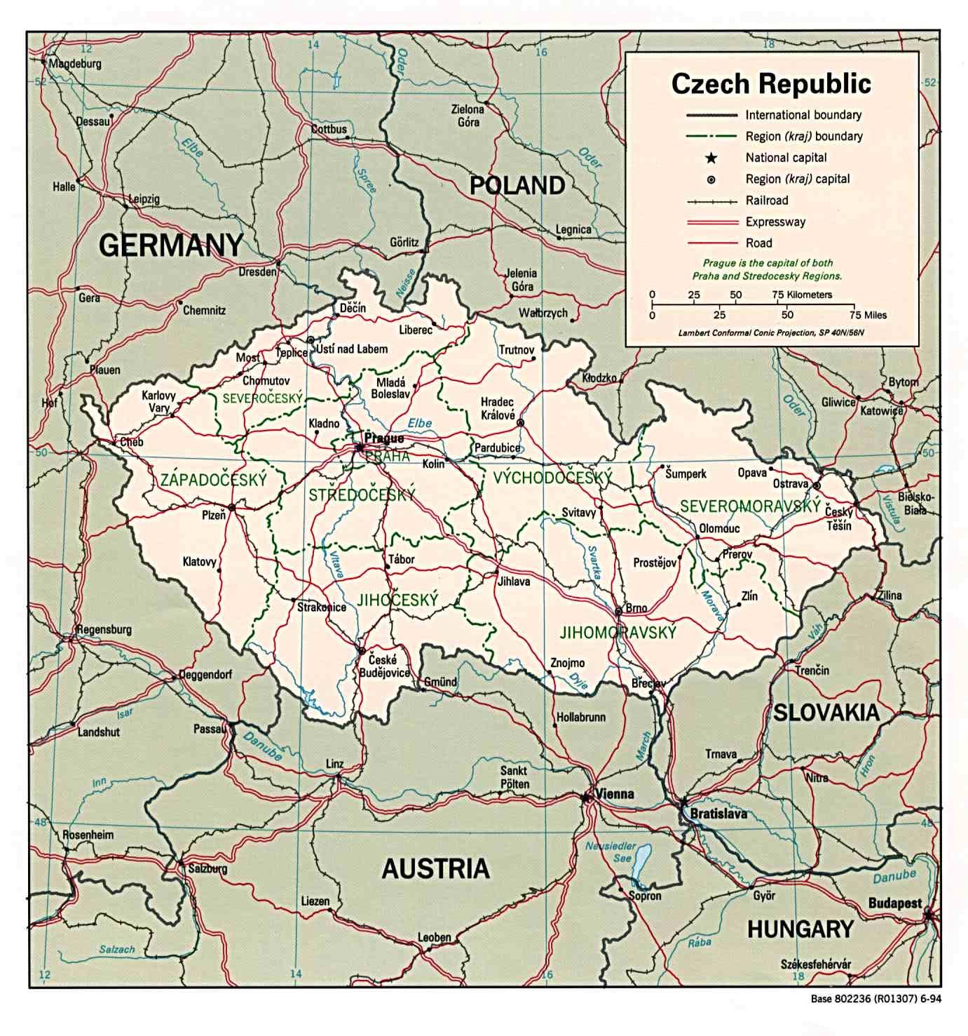 Mapa Politico de la República Checa