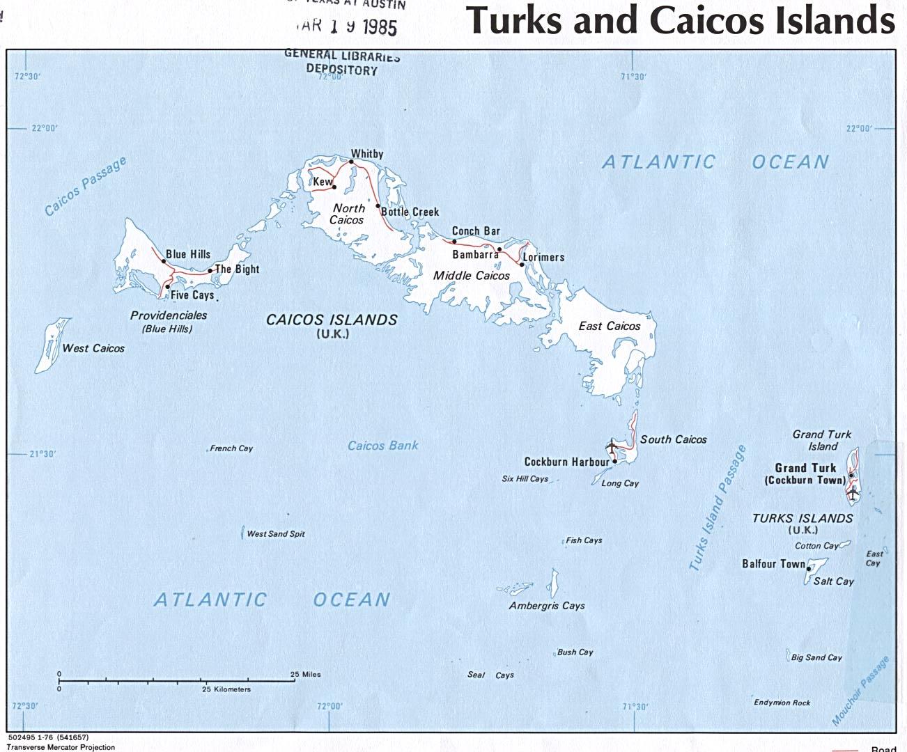 Mapa Político de las Islas Turcas y Caicos