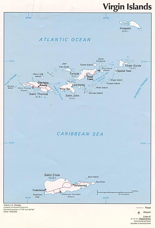 Mapa Político de las Islas Vírgenes de los Estados Unidos