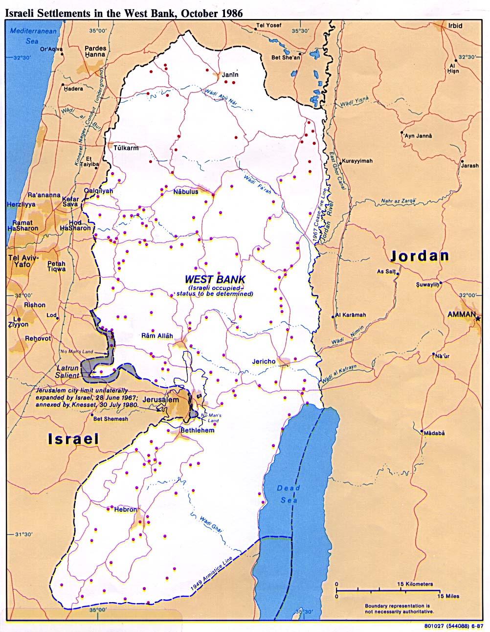 Mapa Politico de los Asentamientos Israelíes en Cisjordania