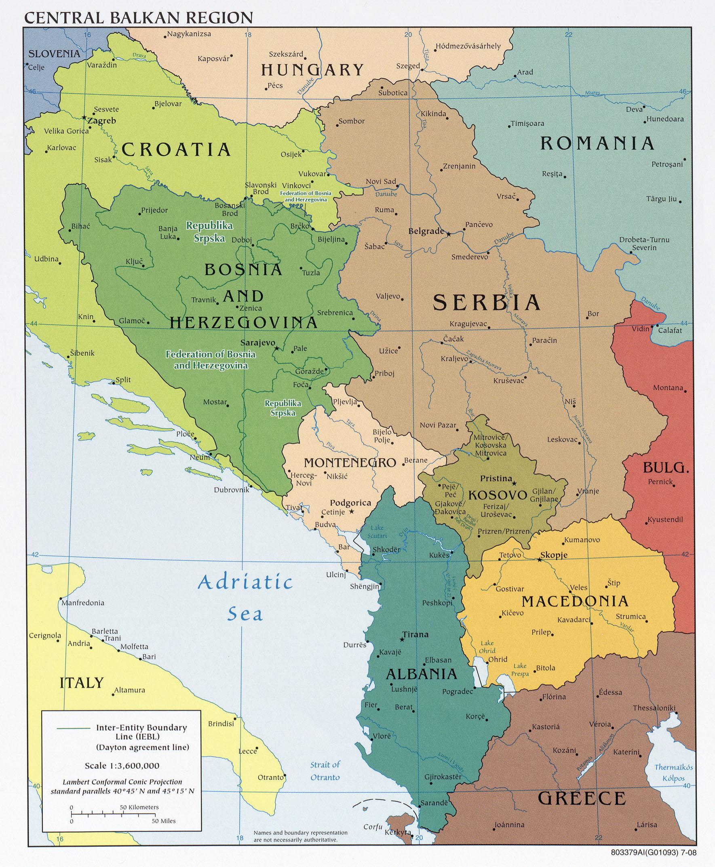 Western Balkans Political Map 2008