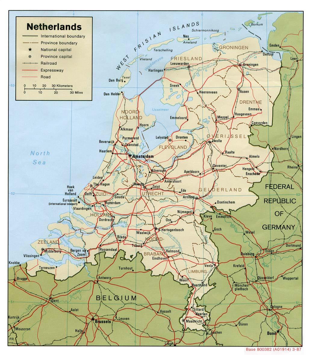 Mapa Politico de los Países Bajos