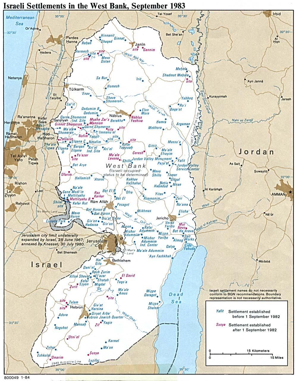 Mapa Politico de of Asentamientos Israelíes en Cisjordania