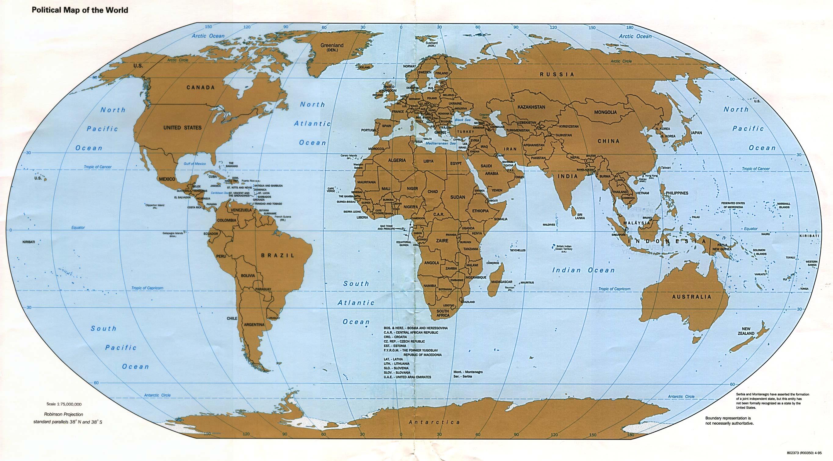 Mapa Politico del Mundo 1995