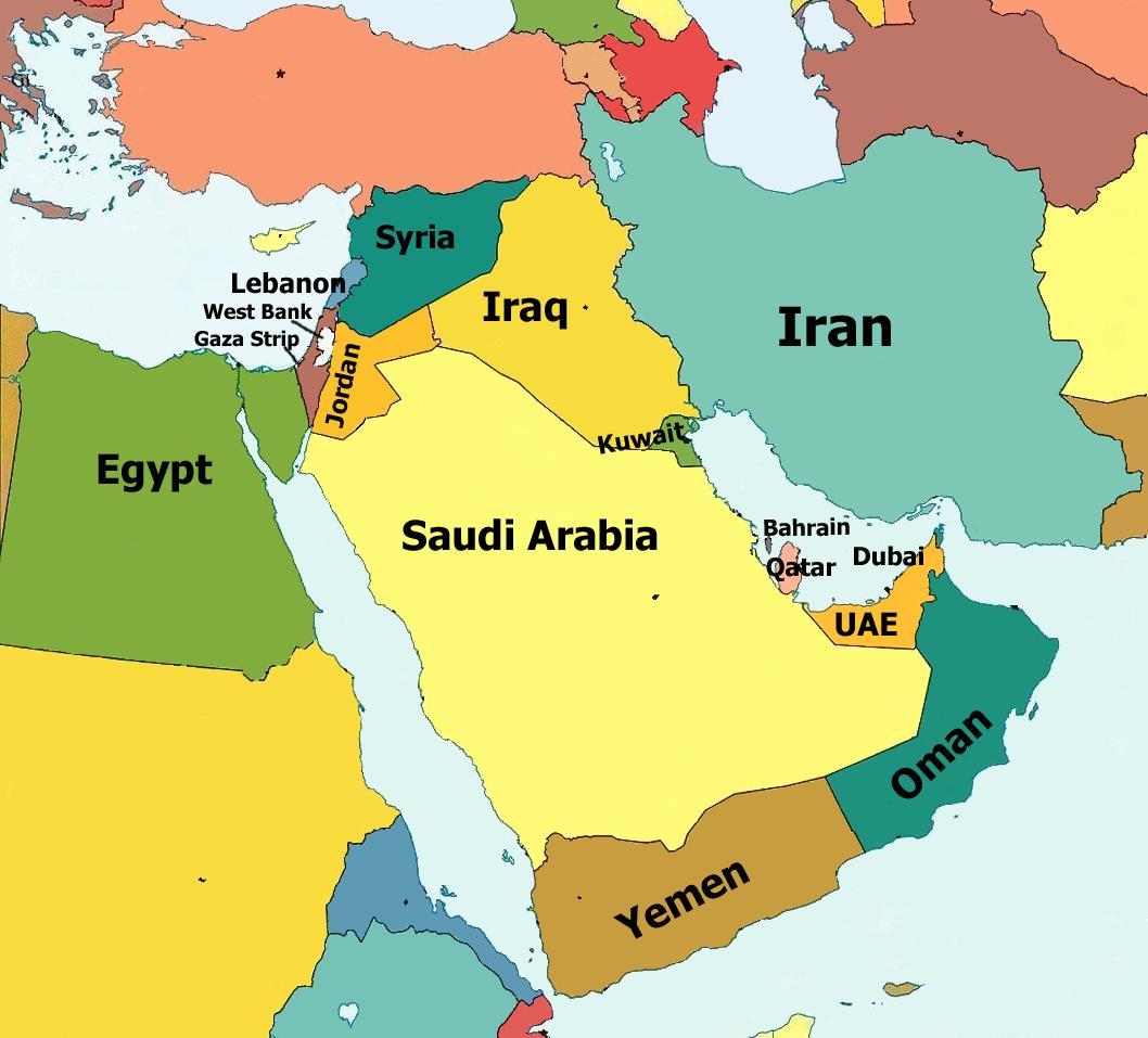 Mapa Politico del Oriente Medio
