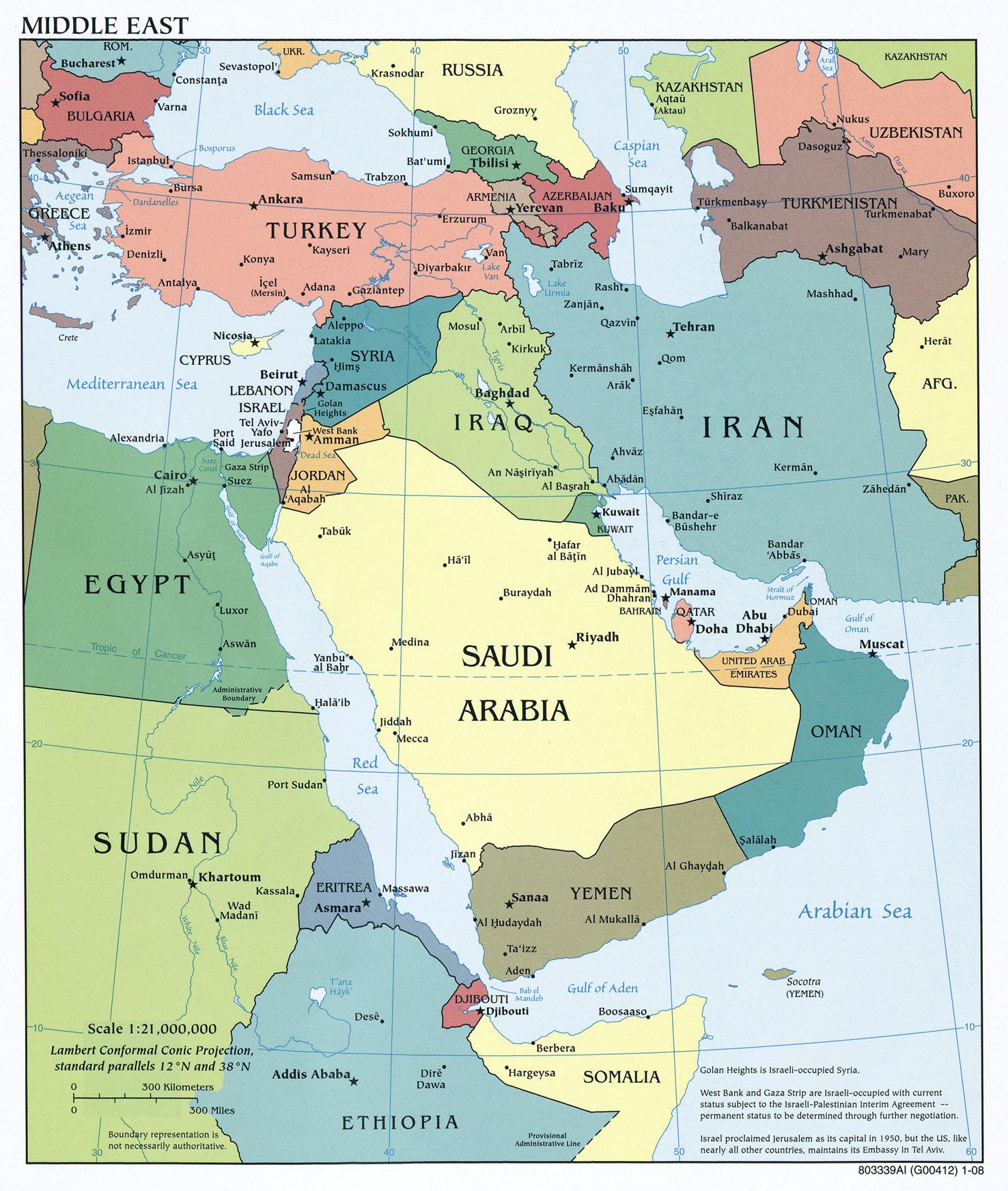 Mapa Politico del Oriente Medio 2008