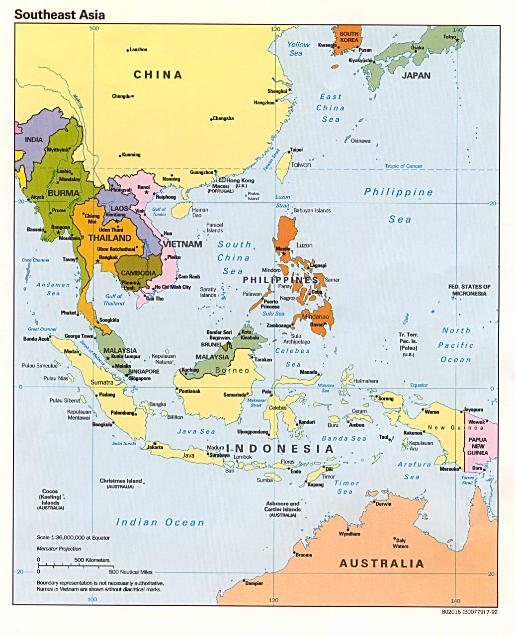 Mapa Politico del Sureste Asiático 1992