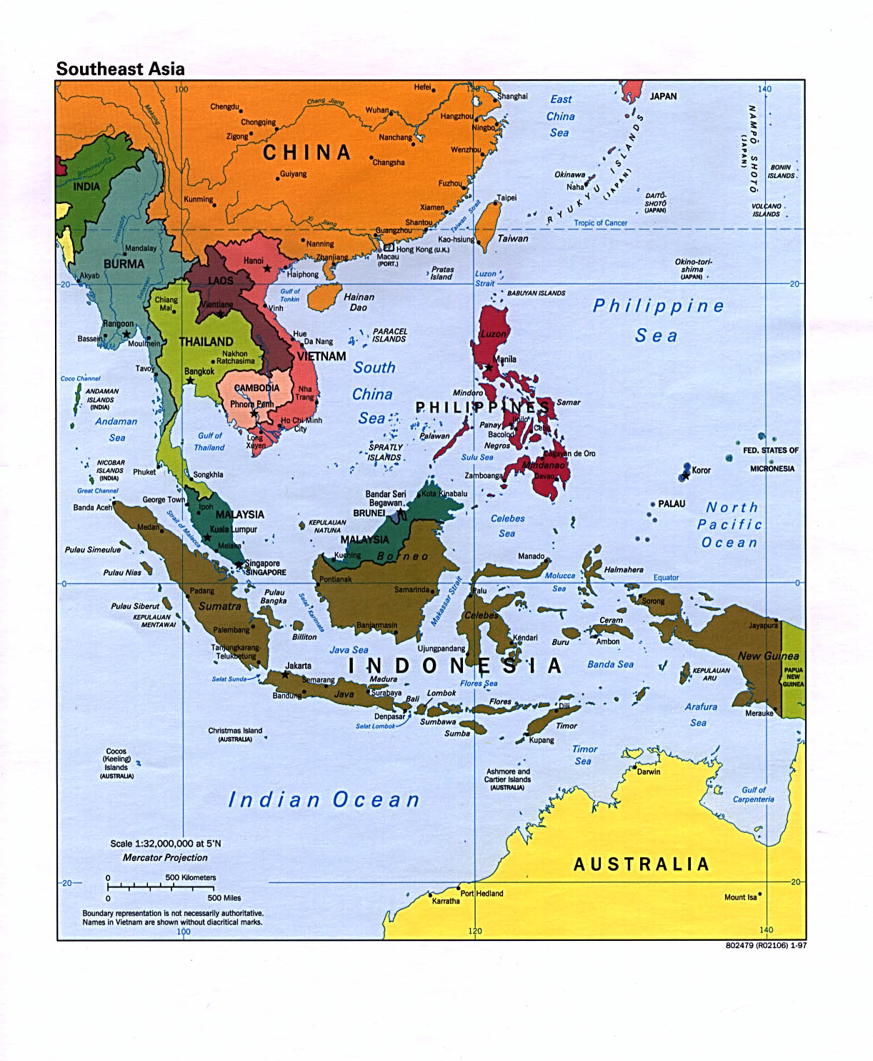 Southeast Asia Political Map 1997