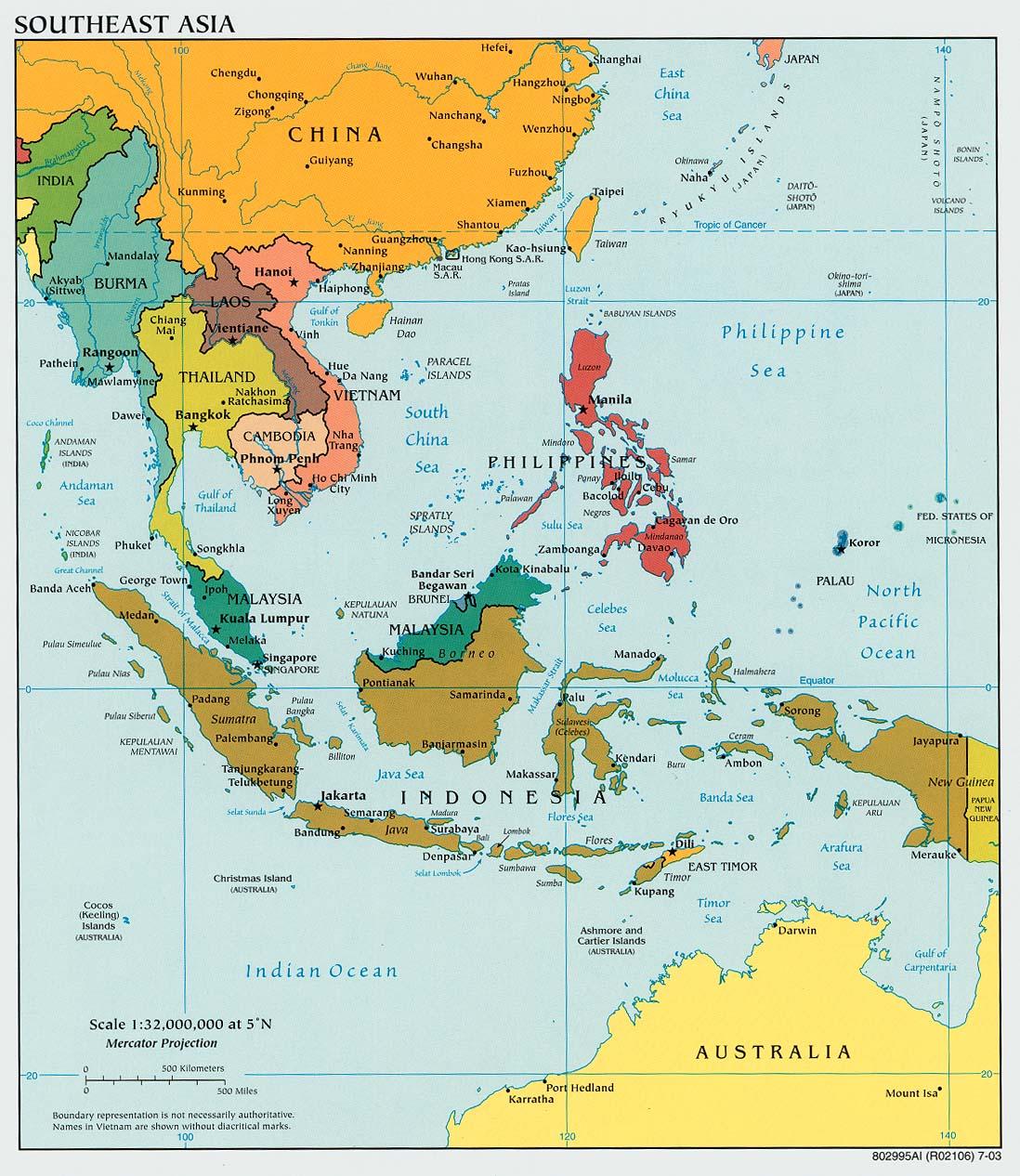 Mapa Politico del Sureste Asiático 2003