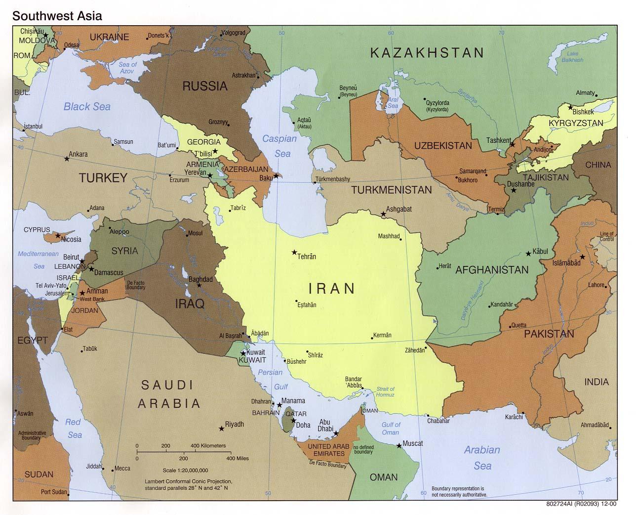 Mapa Politico del Suroeste Asiático 2000