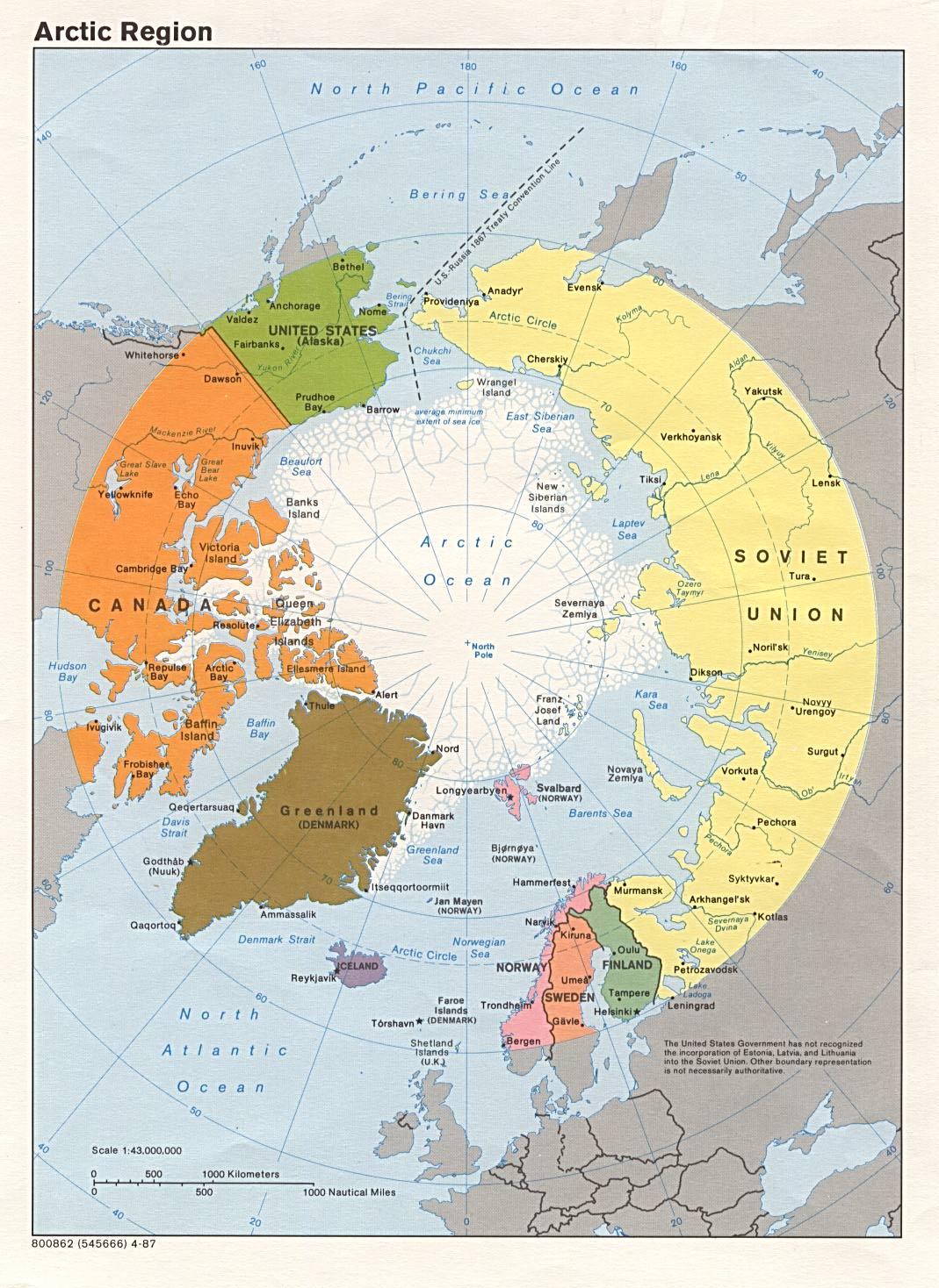 Mapa Politico del Ártico 1987