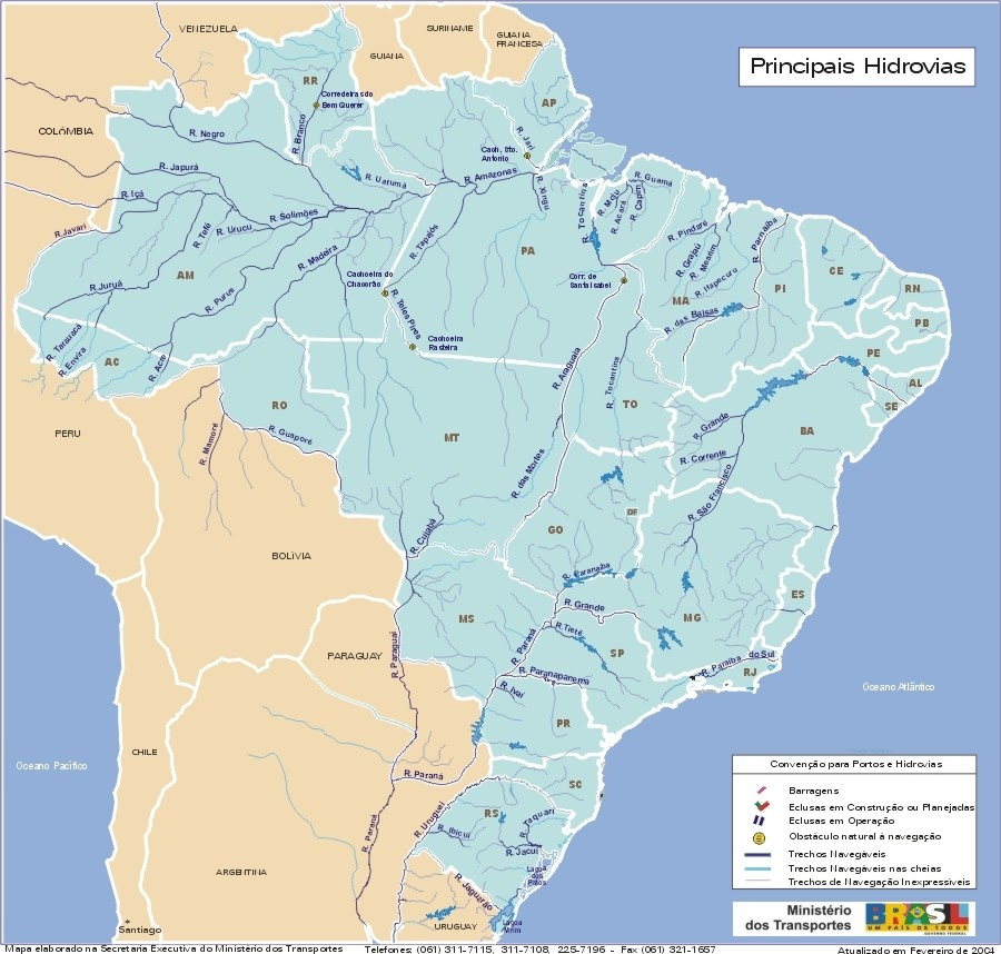 Brazil Main Waterways Map