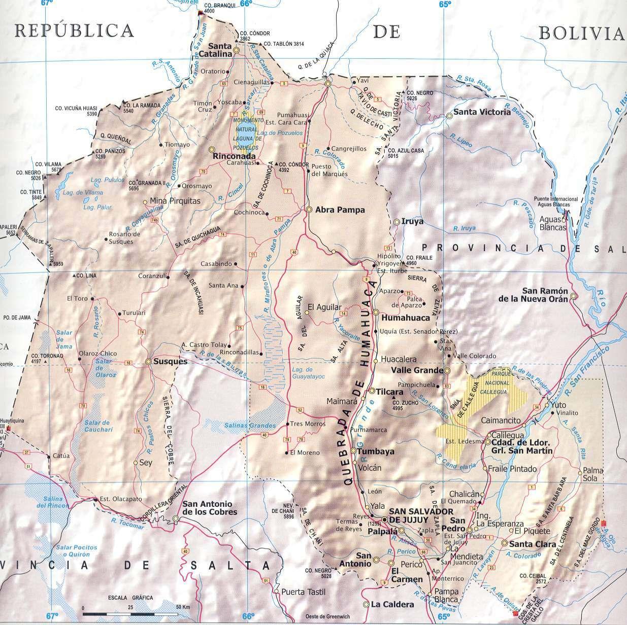 Mapa Provincia Jujuy, Argentina