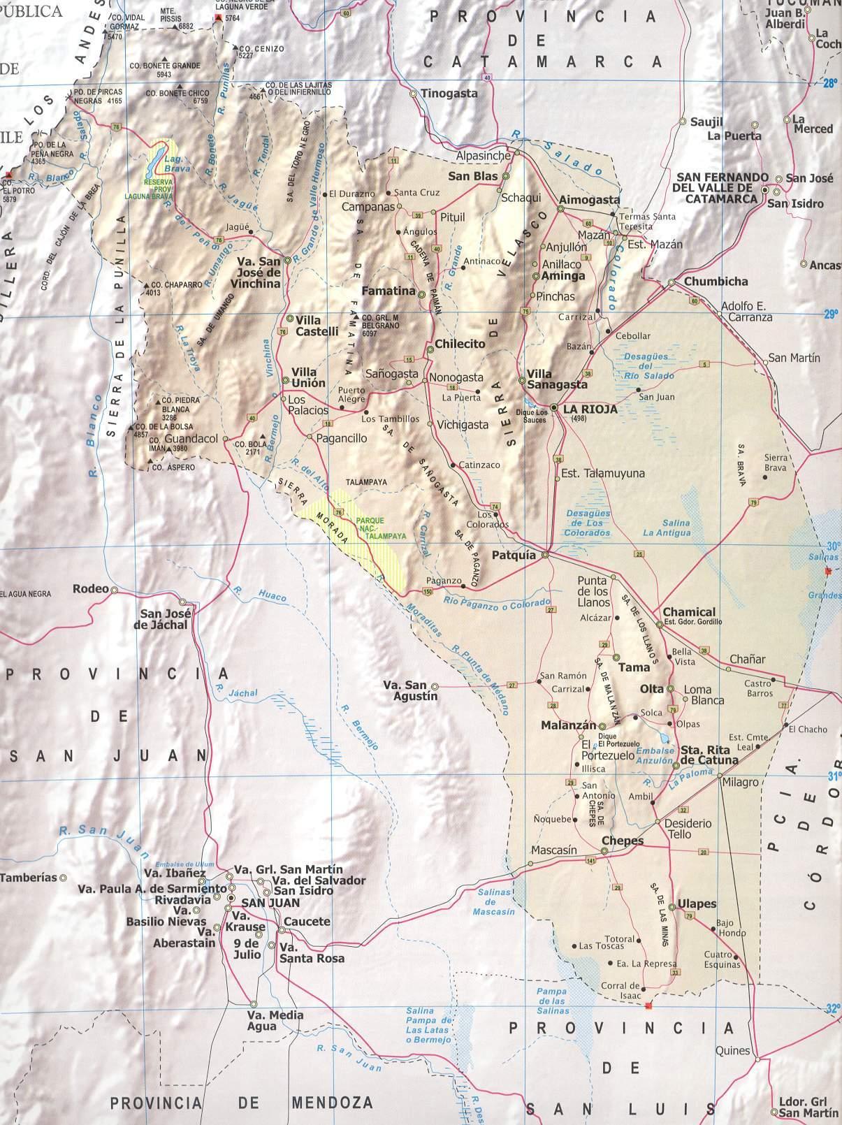 Mapa Provincia La Rioja, Argentina