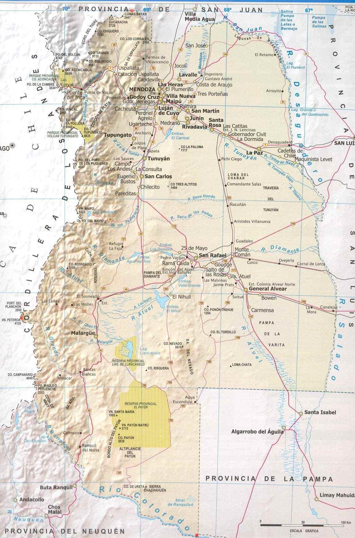 Mapa Provincia Mendoza, Argentina