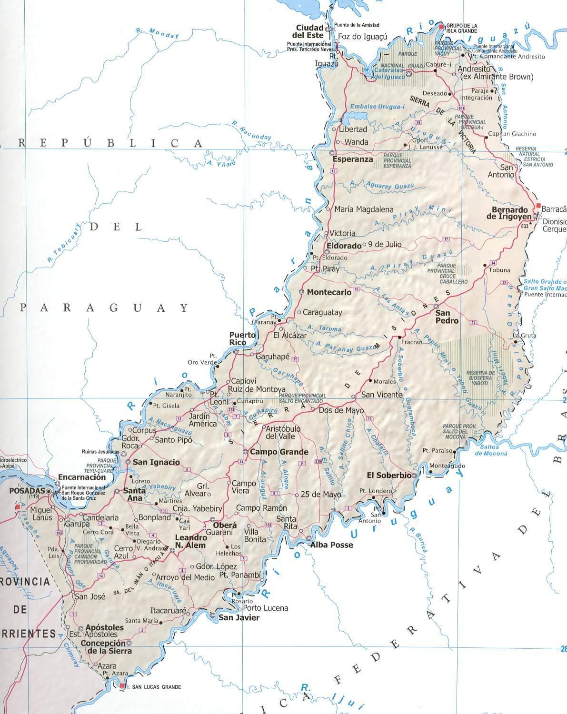 Mapa Provincia Misiones, Argentina